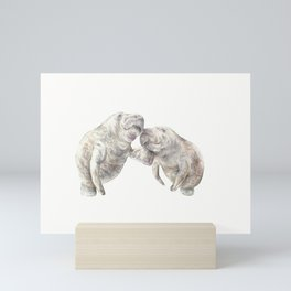 Manatees in love Mini Art Print