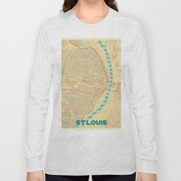 St Louis Map Retro Long Sleeve T-shirt