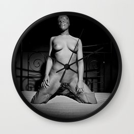 Nude and waiting - Woman naked on a bed Wall Clock
