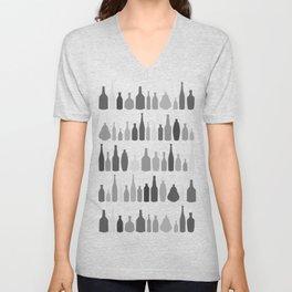 Bottles Black and White on White Unisex V-Neck