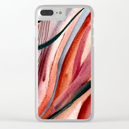 Rollercoaster [2]: a vibrant, mixed media abstract piece in blues, pinks, and purple Clear iPhone Case