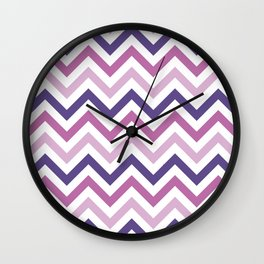 Chevron Pattern in Ultra Violet, Pink Lavender and Spring Crocus Wall Clock