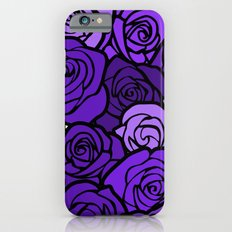 Romantic Purple roses with black outline Slim Case iPhone 6