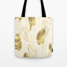 Gold tropical leaves pattern Tote Bag