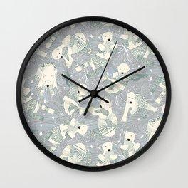 arctic polar bears silver Wall Clock