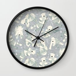 arctic polar bears silver Wall Clock