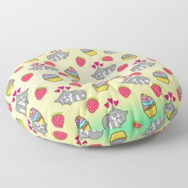 Cute happy sleeping dreaming Kawaii baby raccoon, sweet red summer strawberries and colorful rainbow yummy cupcakes sunny bright yellow design. Nursery decor. Floor Pillow