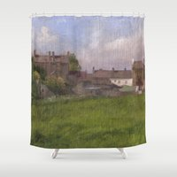 ireland Shower Curtains featuring Dunkineely, Ireland by John Pacer