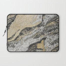Vintage chic black gold yellow abstract marble Laptop Sleeve