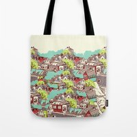 the neighbourhood Tote Bags featuring Tur-Town by Yoshi Andrian