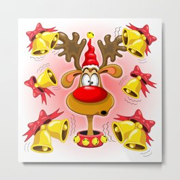 Reindeer Fun Christmas Cartoon with Bells Alarms Metal Print