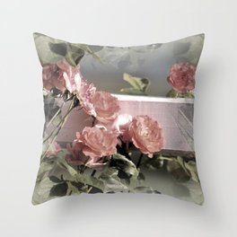 Pink Roses on Fence Rail Throw Pillow