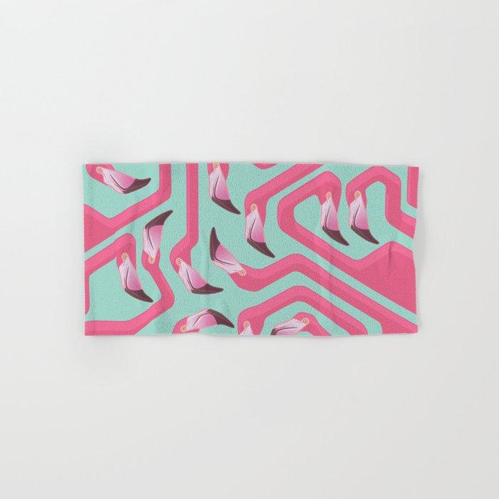Flamingo Maze on beach glass background. Hand & Bath Towel