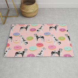 Great Dane donuts food lover dog person pet portrait by pet friendly dog breeds Rug
