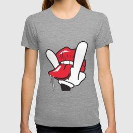 Cartoon Hand Tongue Licking Lips Swag Funny Cool Crazy Gift Swag T-Shirts T-shirt