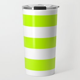 Bitter lime - solid color - white stripes pattern Travel Mug