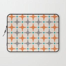 Mid Century Modern Star Pattern Grey and Orange Laptop Sleeve