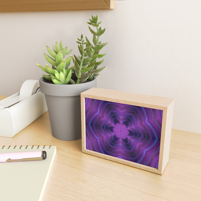 Layered Purple Flower Pattern Framed Mini Art Print