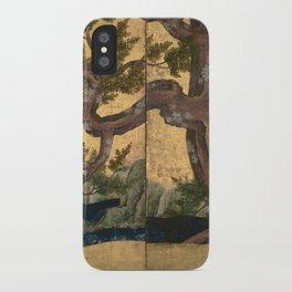 Cypress Tree - Japanese Eight-Panel Gold Leaf Screen - Azuchi-Momoyama-Period iPhone Case