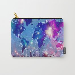 world map city skyline galaxy Carry-All Pouch