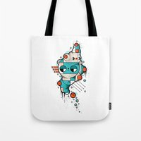 muscle Tote Bags featuring Muscle cat by Randyotter