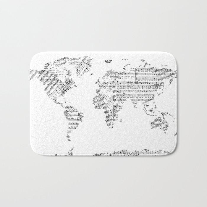 world map music vintage white Bath Mat