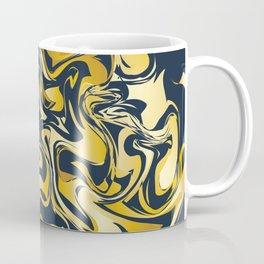 yellow and blue marble abstract texture pattern Coffee Mug