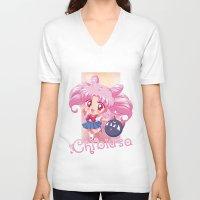 chibi V-neck T-shirts featuring Chibi Chibiusa by Neo Crystal Tokyo