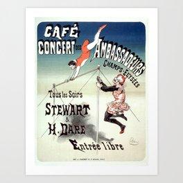 Vintage French Art Nouveau Advertising Ambassadeurs 1877 Art Print
