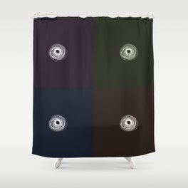 Spiral Lines 4 Dark Colors Shower Curtain
