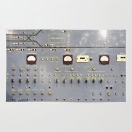 Retro control panel for trains in metro Rug