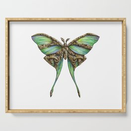 Steampunk Green Luna Moth Serving Tray