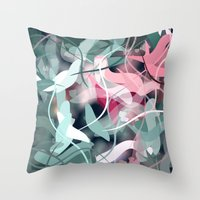 novelty Throw Pillows featuring Spring Birds by Moody Muse