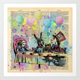 Tea Party Celebration - Alice In Wonderland Art Print