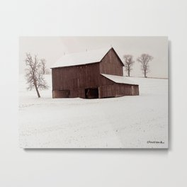 FIRST SNOW Pennsylvania Barn Metal Print