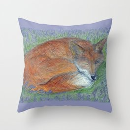 A Sleepy Fox  Throw Pillow