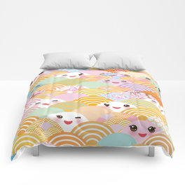 seamless pattern Kawaii with pink cheeks and winking eyes with japanese sakura flower Comforters