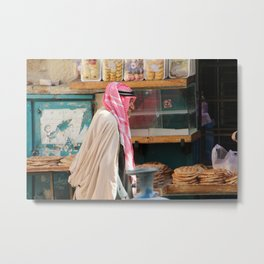 Old Arab man heading to the Manger square, Bethlehem Metal Print