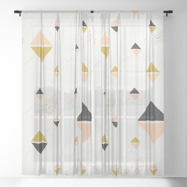 Abstract rhombuses Sheer Curtain