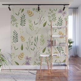 Beige floral pattern Wall Mural