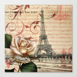 vintage chandelier white rose music notes Paris eiffel tower Canvas Print
