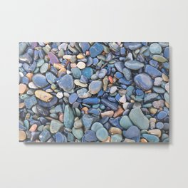 Wet Beach Stones Metal Print