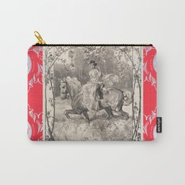Lady in red on a horse Carry-All Pouch