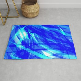 Vector glowing water background made of blue sea lines. Rug