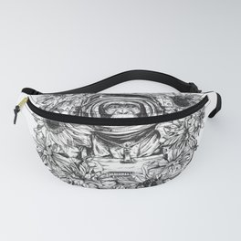 temporary design  astronaut chimpanzee surrounded by flowers Fanny Pack