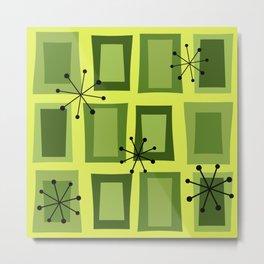 Mid Century Modern Art 'Wonky Doors' Chartreuse Metal Print