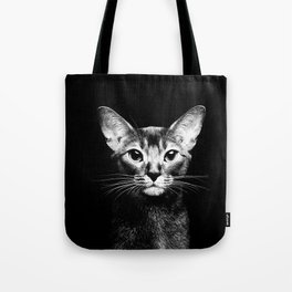 Abyssinian cat portrait black and white Tote Bag