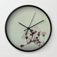 cherry blossom Wall Clocks featuring Cherry Blossom by Koka Koala