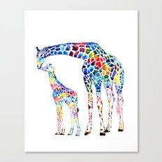 Colorful giraffes Canvas Print