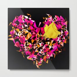 geometric polygon heart shape pattern abstract in pink orange with yellow rose Metal Print
